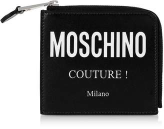 Moschino Black Couture Signature Zip Around Coin Purse