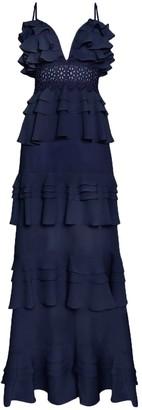 True Decadence Navy Tiered Ruffle Maxi Dress