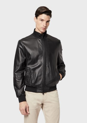 Emporio Armani Lambskin Nappa Leather Bomber Jacket With A Soft Feel