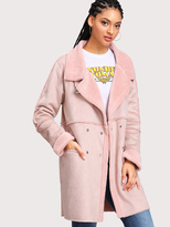 Shein Seam Detail Faux Fur Lined Suede Coat