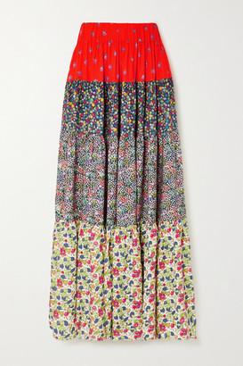 Loretta Caponi Bibi Patchwork Floral-print Poplin Midi Skirt - Red