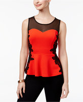 Thalia Sodi Lace-Trim Illusion Peplum Top, Only at Macy's