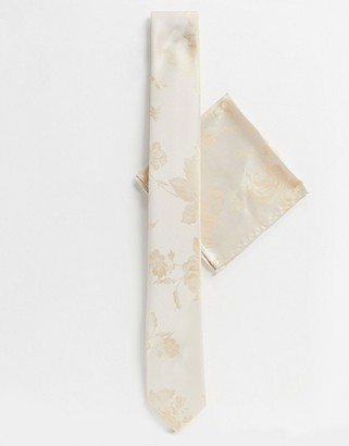 Twisted Tailor wedding floral tie with pocket square in champagne