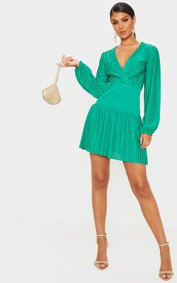 PrettyLittleThing Bright Green Striped Puff Sleeve Wrap Skater Dress
