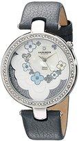 Akribos XXIV Women's AK601GY Lady Diamond Flower Dial Swiss Quartz Leather Strap Watch
