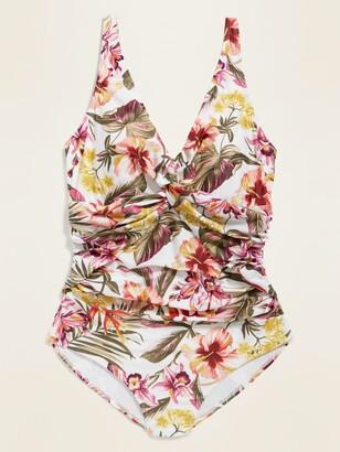Old Navy Floral Secret-Slim Twist-Front Plus-Size One-Piece Swimsuit