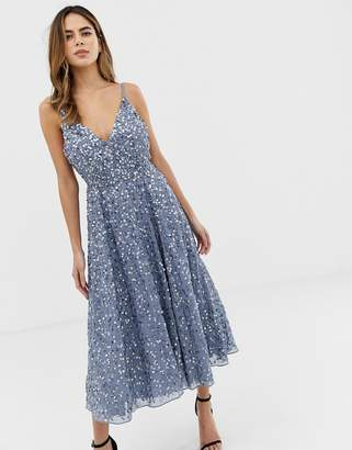 Asos Design DESIGN delicate sequin plunge midi dress with full skirt-Blue