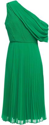 Badgley Mischka One-shoulder Draped Georgette Dress
