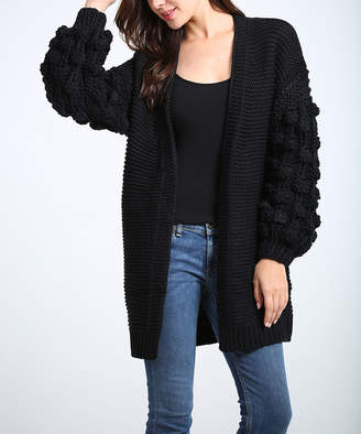Couture Simply Women's Tunics Black - Black Open Cardigan - Women & Plus