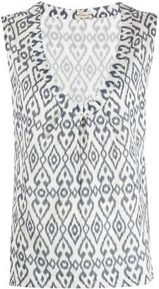 Massimo Alba abstract print V-neck top