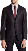 Ike Behar Navy Plaid Two Button Notch Lapel Cotton Sport Coat