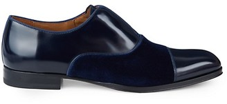Mezlan Velvet Leather Cap-Toe Oxford Loafers