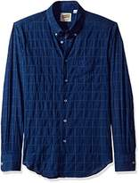 Naked & Famous Denim Men's Lightweight Windowpane Long Sleeve Button Down Shirt
