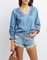 Charlotte Russe Embroidered Open-Back Chambray Top