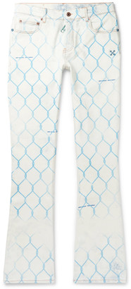 Off-White Slim-Fit Printed Bleached Denim Jeans