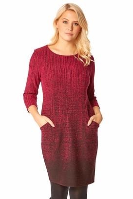 Roman Originals Women Ombre Textured Dress Ladies Gradient 35% Cotton Round Neck 3/4 Sleeve Side Pocket Pattern Work Formal Autumn Winter Party Pencil Tunic Tummy Control - Black - Size 18