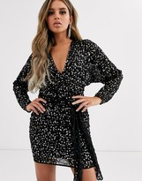 Asos Design DESIGN mini dress with batwing sleeve and wrap waist in scatter sequin