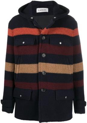 Lanvin Striped Wool Hooded Coat