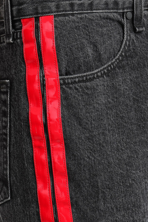 Thumbnail for your product : Rag & Bone Leather-trimmed Striped Cropped High-rise Slim-leg Jeans
