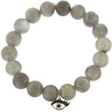 Sydney Evan Eyelash Eye Charm On Mystic Grey Moonstone Beaded Bracelet