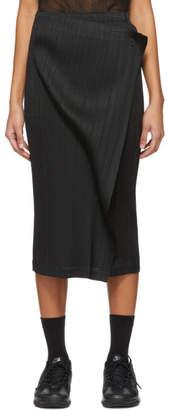 Pleats Please Issey Miyake Black Wrap Panel Skirt