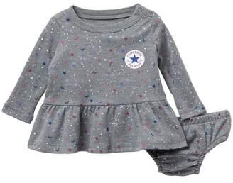 Converse Long Sleeve Galaxy Dress & Bloomers Set (Baby Girls)