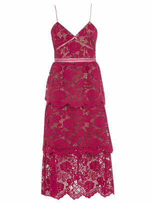 Self-Portrait Fuchsia Flower Lace Midi Dress