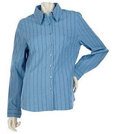 As Is Denim & Co. Long Sleeve Button Front Striped Woven Shirt
