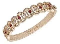 Marchesa Goldtone, Faux Pearl & Crystal Filigree Bangle Bracelet
