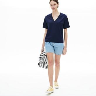 Lacoste Womens V-Neck Premium Cotton T-Shirt