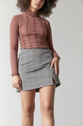 Dress Forum Plaid Notched Mini Skirt