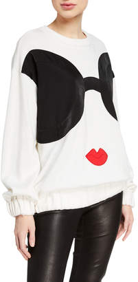 Alice + Olivia Gleeson Staceface Boxy Long Pullover Sweater