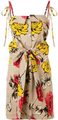 MSGM Rose Print Tie-Waist Dress