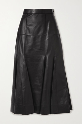 Loewe Pleated Leather Midi Skirt - Black