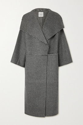 Totême Signature Houndstooth Wool And Cashmere-blend Coat - Black