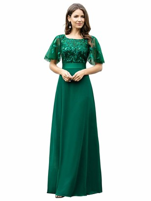 Ever Pretty Ever-Pretty Women's Round Neck A Line Long Short Sleeve Chiffon Wedding Party Dresses Dark Green 14UK