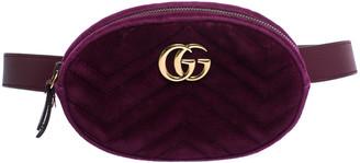 Gucci Purple Matelasse Velvet GG Marmont Belt Bag