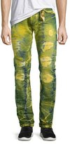 Robin's Jeans Long-Flap Slim Acid-Wash Jeans, Lime