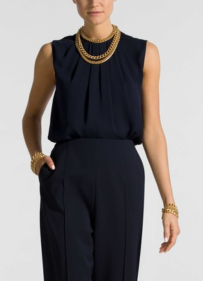 St. John Pleat Drape Neck Shell