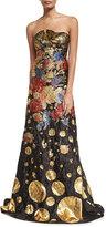 Naeem Khan Metallic Floral Brocade Strapless Evening Gown