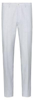HUGO BOSS Extra Slim Fit Pants In Striped Seersucker With Stretch - Light Grey