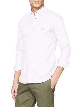 Crew Clothing Men's Unbrushed Oxford Slim Shirt Casual (White Mkb), 18 (Size:XL)