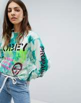 Obey Bleached Boyfriend Long Sleeve T-Shirt With Front & Arm Graphic