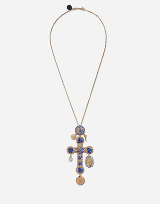 Dolce & Gabbana Tradition Cross Pendant With Tanzanites