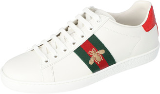 Gucci White Leather Embroidered Bee Ace Low-Top Sneakers Size 35