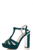 Quiz Green Faux Suede Block Heel Sandals