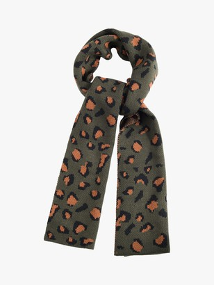 French Connection Contrast Leopard Print Scarf, Khaki/Brown