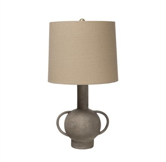 Bloomingville Terracotta Lamp With Linen Lampshade Distressed Grey