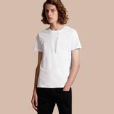 Burberry Striped Ruffle Detail Cotton T-shirt