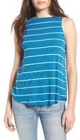 BP Women's Stripe Mock Neck Tank